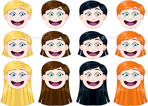 Girl Heads Set - People Characters