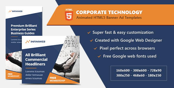 corporate technology banners html5 ad templates by infiniweb