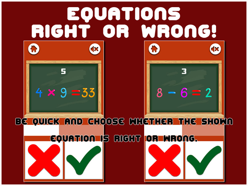 Equations: Right or Wrong! - HTML5 Game