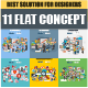 Set of Flat Business Concept - GraphicRiver Item for Sale