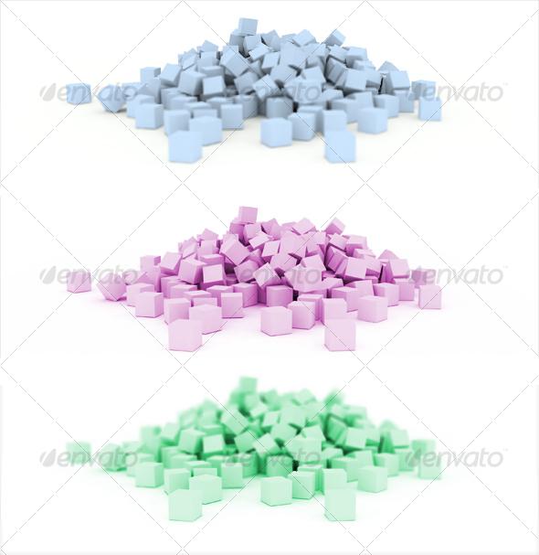 3D scattered cubes - 3D Backgrounds