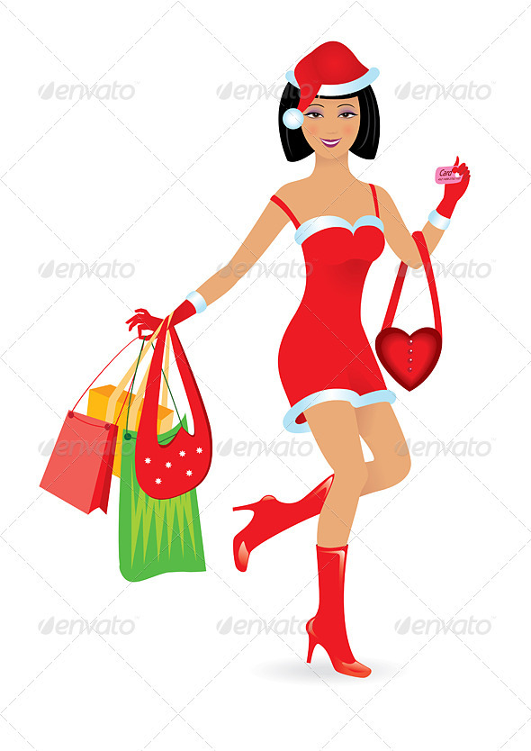 Happy Shopping Girl - People Characters