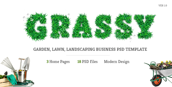 Grassy – Garden, Lawn, Landscaping Business PSD Template