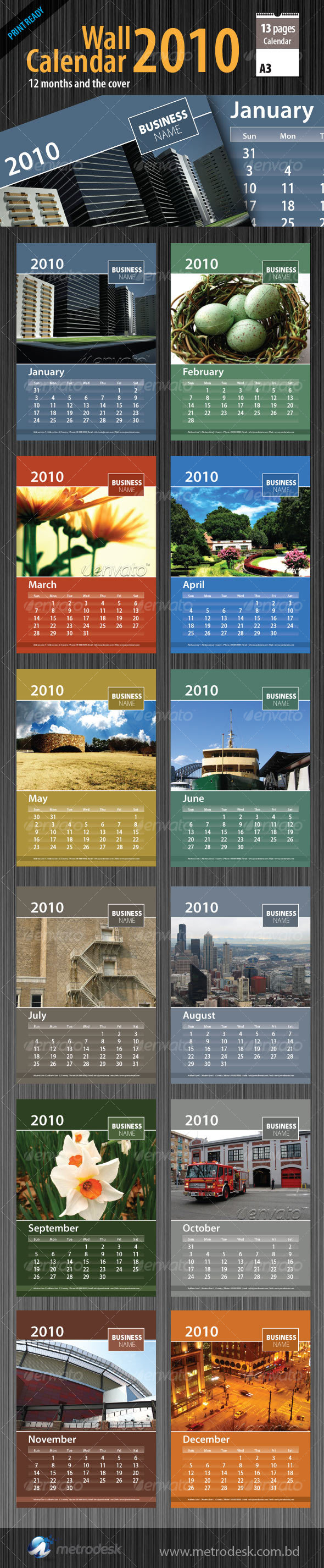 Wall Calendar 2010 [ 12 page ]  - Calendars Stationery