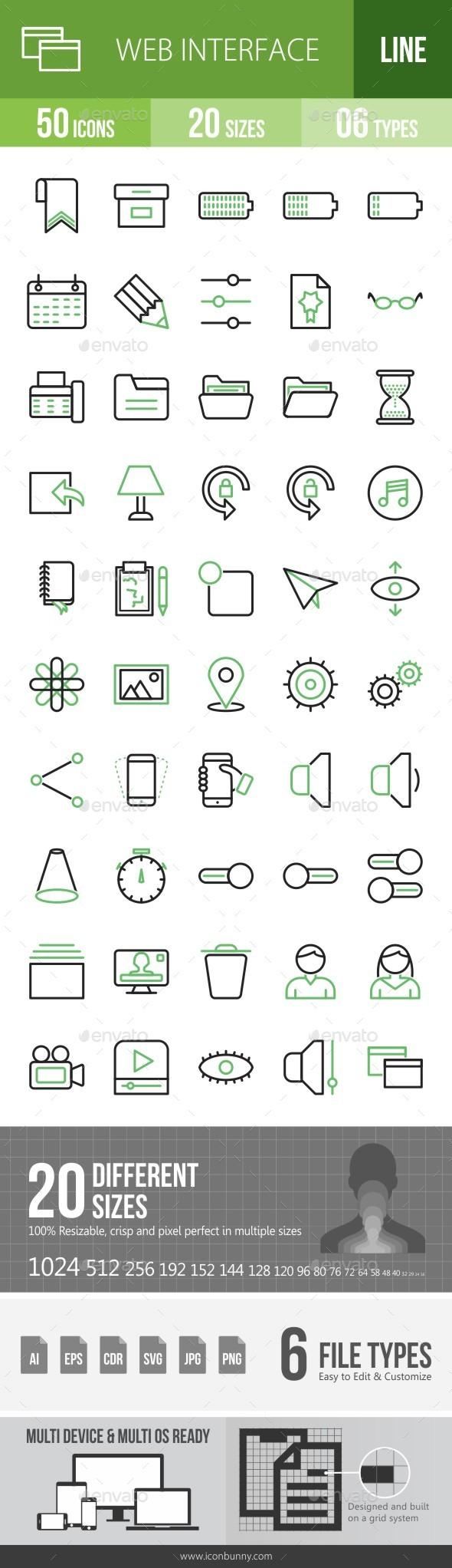 Web Interface Line Green & Black Icons