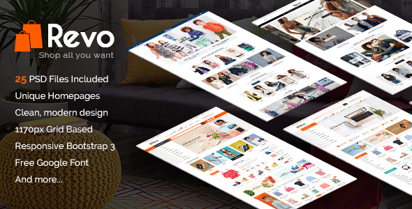 Revo – Modern Multipurpose PSD eCommerce Template