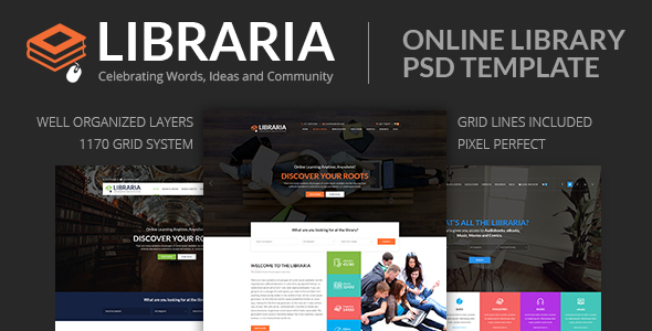 LIBRARIA – Online Library PSD Template