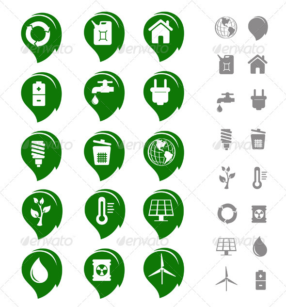 Ecology and Environment Icon Set - Web Elements Vectors