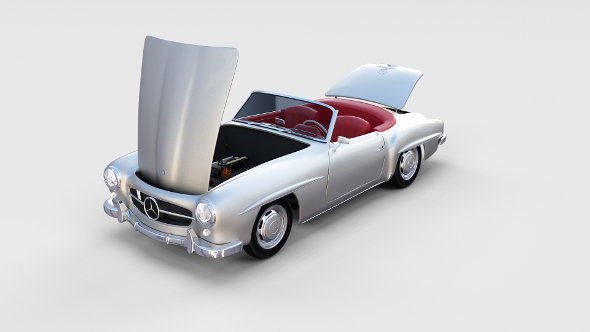Fully modeled w interior Mercedes 190SL rev - 3DOcean Item for Sale