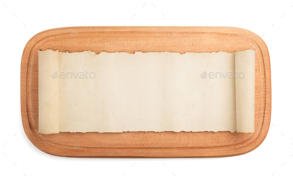 cutting board and parchment on white - Stock Photo - Images