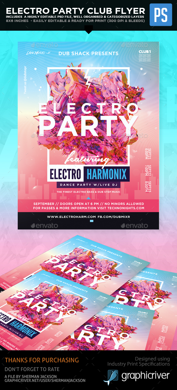 Electro Party Club Flyer - Clubs & Parties Events