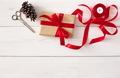 Creative hobby. Handmade tools for making christmas present in box