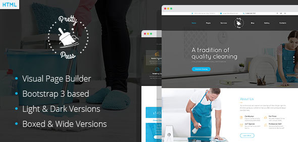 PrettyPress – Cleaning Service HTML Template with Builder