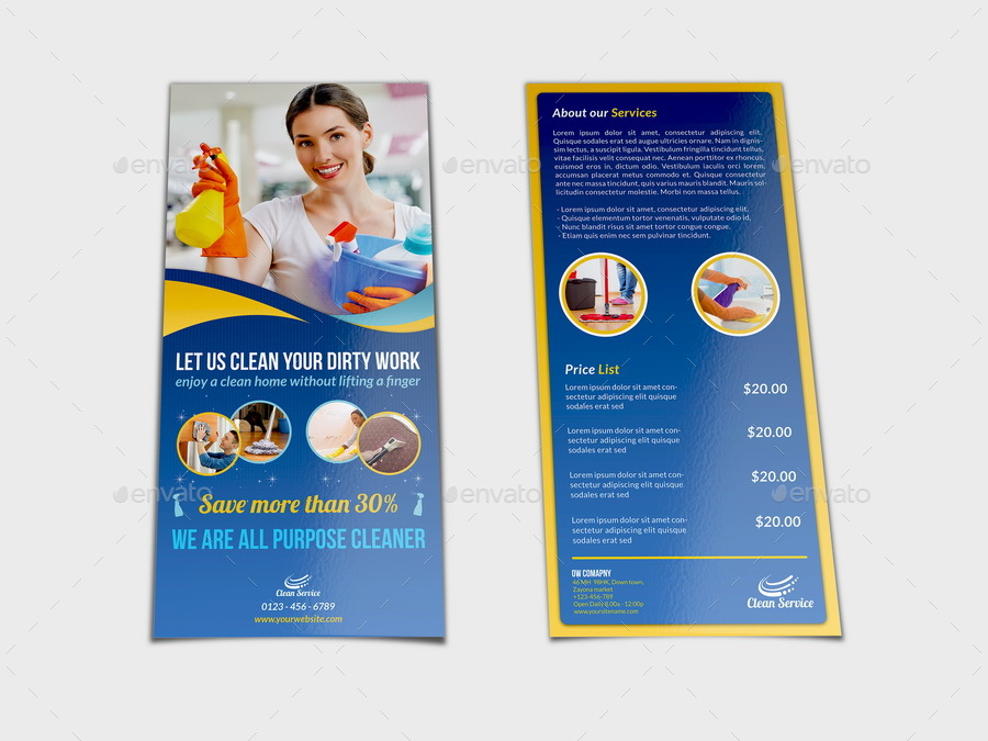 Cleaning Services Dl Flyer Template By Owpictures | Graphicriver