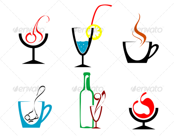 Set of beverages and drinks symbols - Food Objects