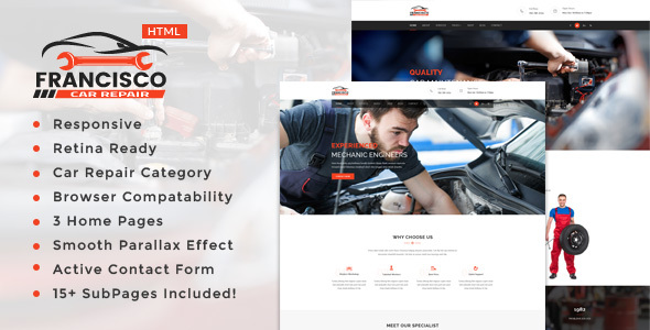 Francisco  || Auto Mechanic & Car Repair Template - Business Corporate