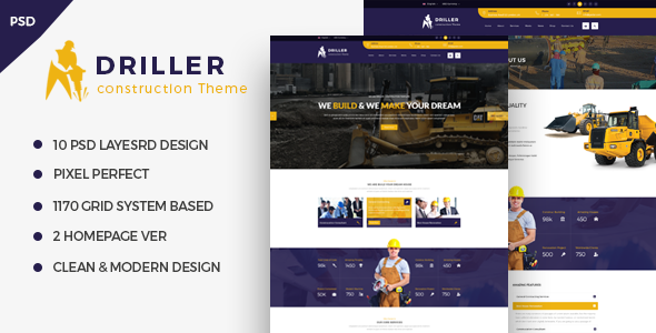 Driller – Construcation PSD Template