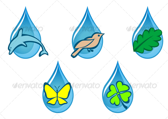 Ecology and nature emblems - Decorative Vectors