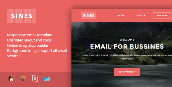 Sines – Multipurpose Responsive Email Template + Stampready Builder