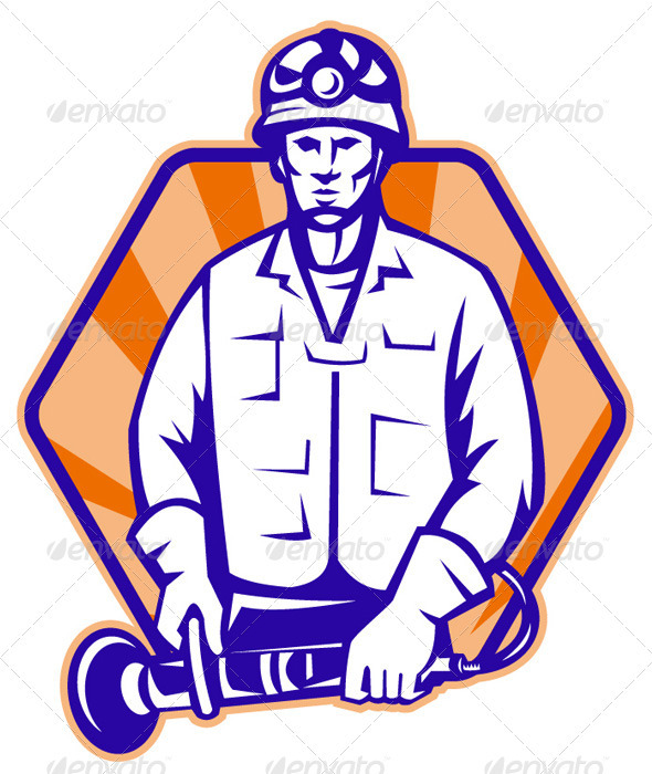 Emergency Worker With Angle Grinder Tool Retro - People Characters