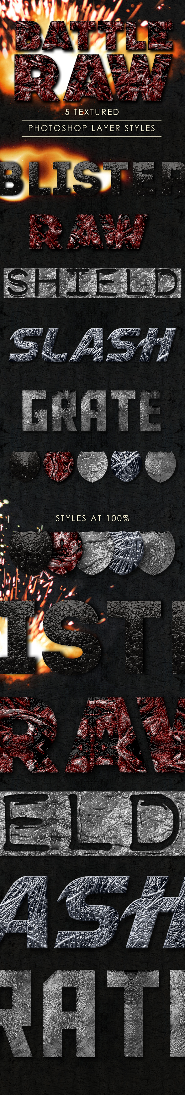 Battle Raw Photoshop Layer Styles - Text Effects Styles