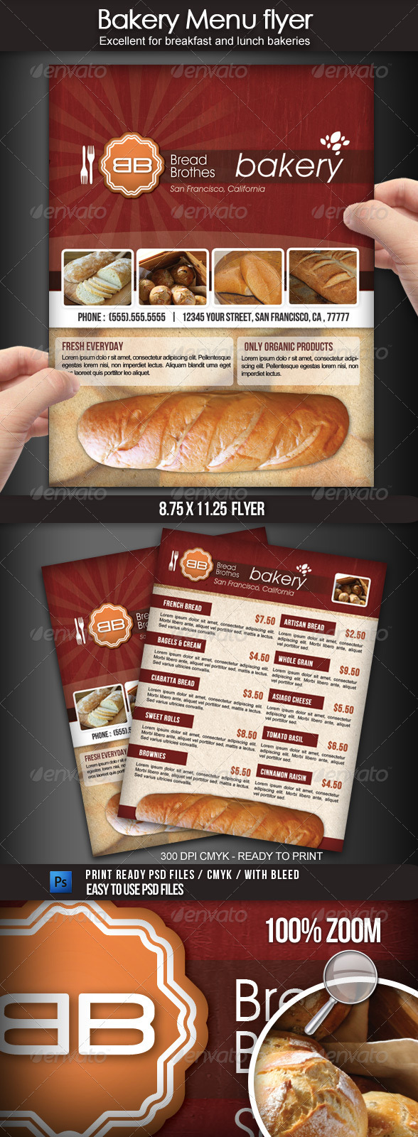 Bakery Menu Flyer - Flyers Print Templates