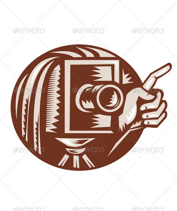 Vintage Camera Hand Pointing Retro Woodcut - People Characters