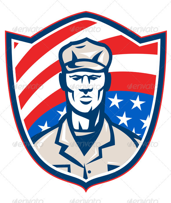 American Soldier With Stars and Stripes Shield Ret - People Characters