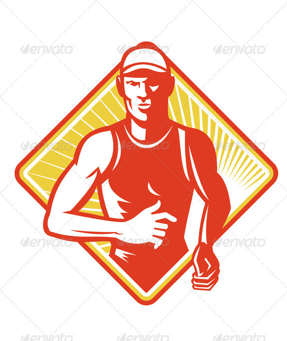 Male Marathon Runner Running Retro Woodcut - People Characters