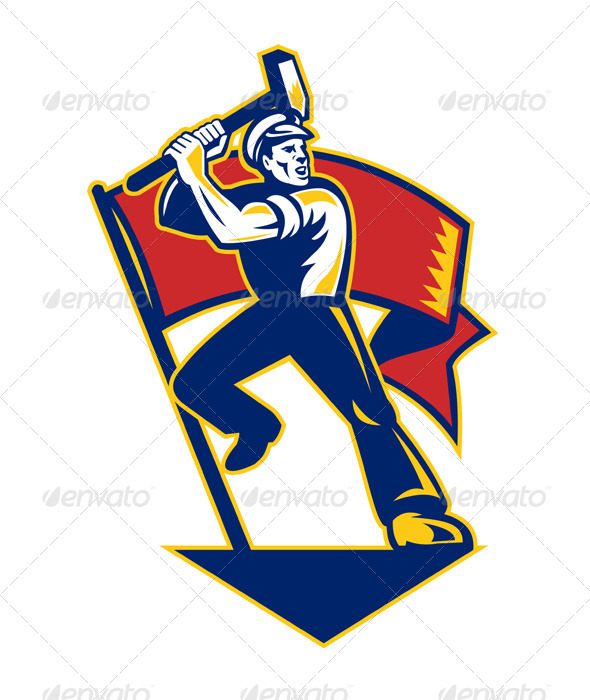 Worker With Sledge Hammer And Flag Retro - People Characters