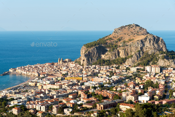 The village of Cefalu in Sicily - Stock Photo - Images