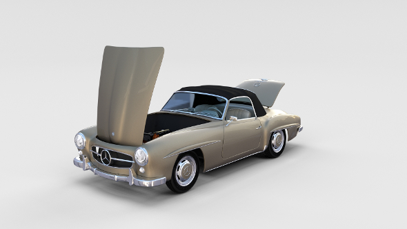Full w interior Mercedes 190SL Soft Top rev - 3DOcean Item for Sale