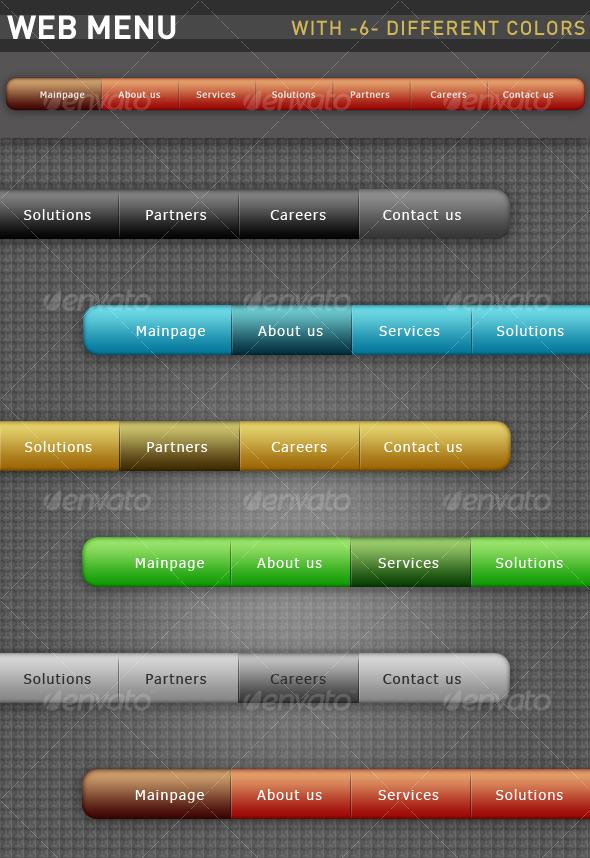 Web Menu With Six Different Colors - Web Elements