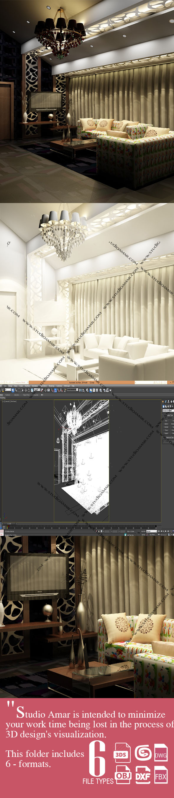 Luxury Living room 180 - 3DOcean Item for Sale