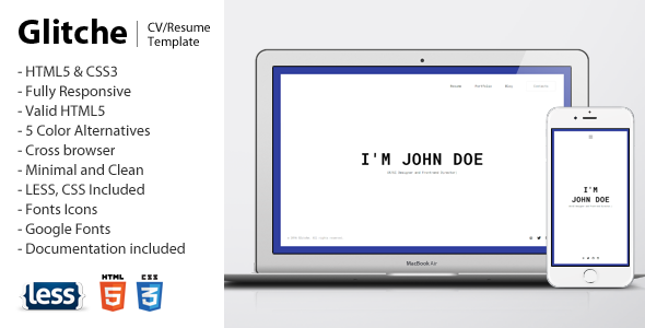 Glitche - Responsive vCard / Resume / CV Template