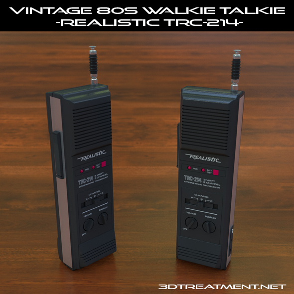 Vintage 80s Walkie-Talkie Realistic TRC-214 - 3DOcean Item for Sale