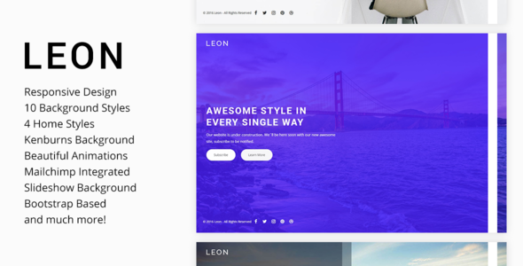 Leon – Responsive Coming Soon Template