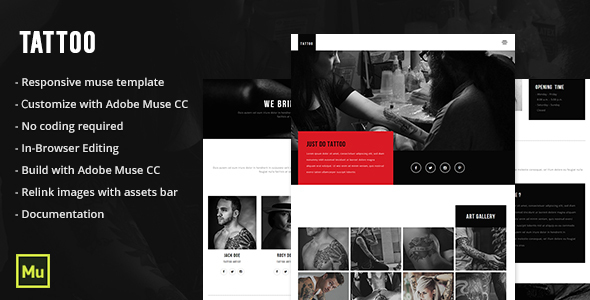 Tattoo - Responsive Tattoo Salon Muse Template