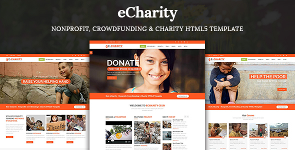 eCharity – Nonprofit, Crowdfunding & Charity HTML5 Template