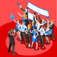 Election News Infographic Party Rally Vector Isometric People - GraphicRiver Item for Sale