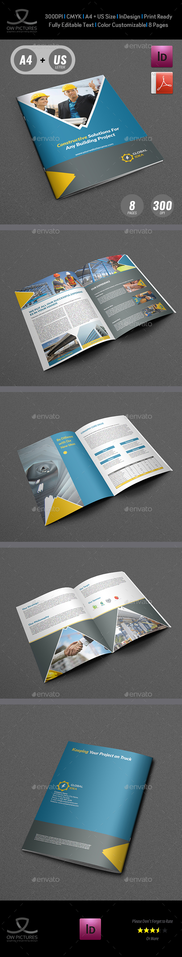 Construction Business Brochure Template - 8 Pages - Brochures Print Templates