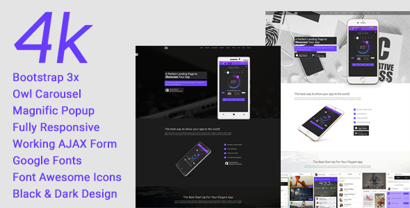 4k - Multipurpose One Page App Landing Page HTML