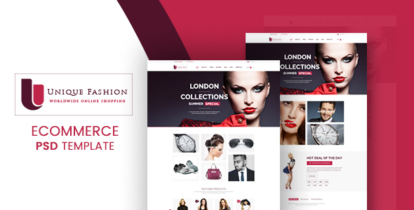 Unique Fashion – Ecommerce PSD Template