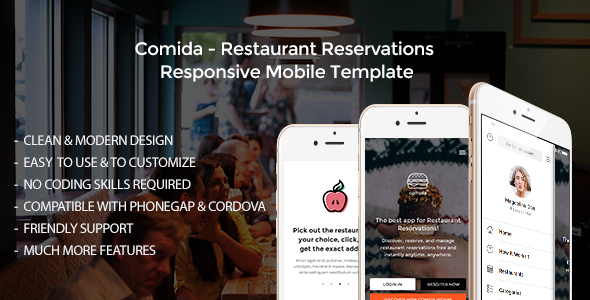 Comida – Restaurant Reservations Responsive Mobile Template