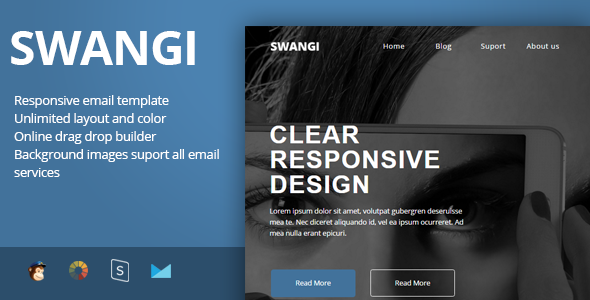 SWANGI - Best Multipurpose Responsive Email Template + Stampready Builder - Newsletters Email Templates