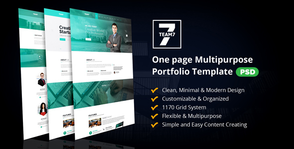 TEAM7 – One page Multipurpose Portfolio PSD