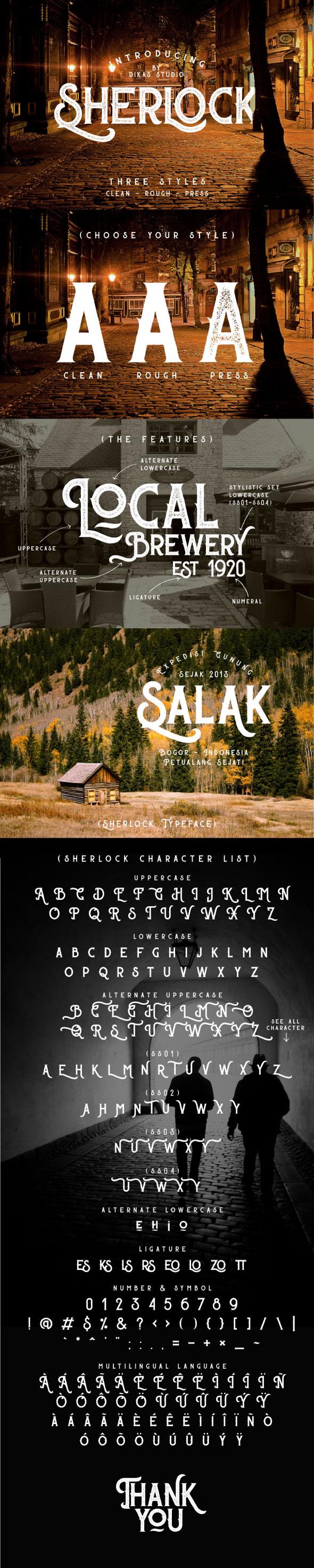 Sherlock Typeface - 3 Font Styles - Grunge Decorative