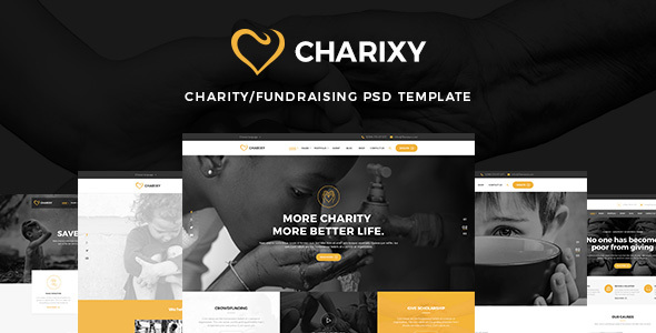 Charixy - Charity/Fundraising PSD Template - Charity Nonprofit