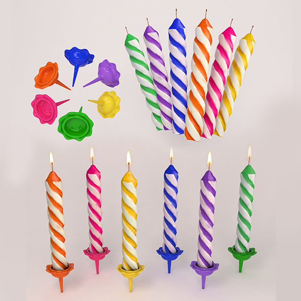 High Poly Birthday Candles