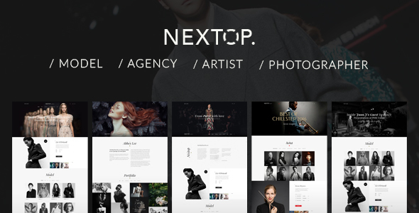 Nextop WordPress theme – Talent Agency – Model Artist Photographer – Gallery – Elegant style